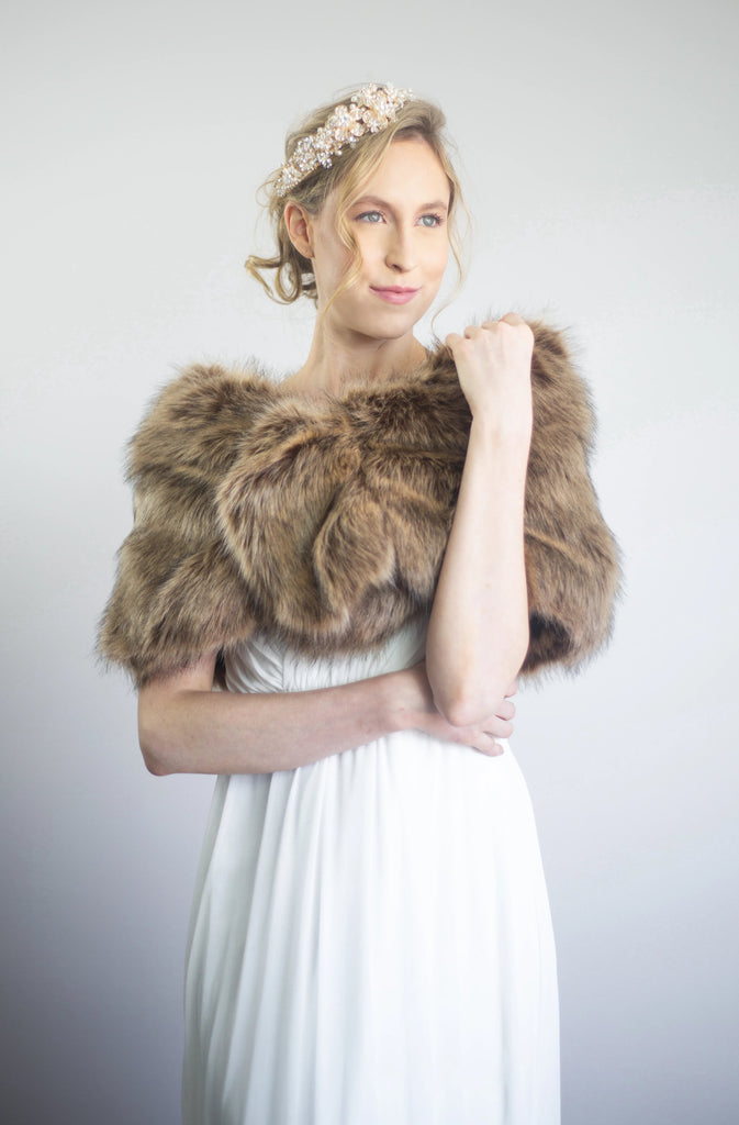 Brown Wedding Bridal Faux Fur Stole Wrap Shawl Cape (Blair Brw03)