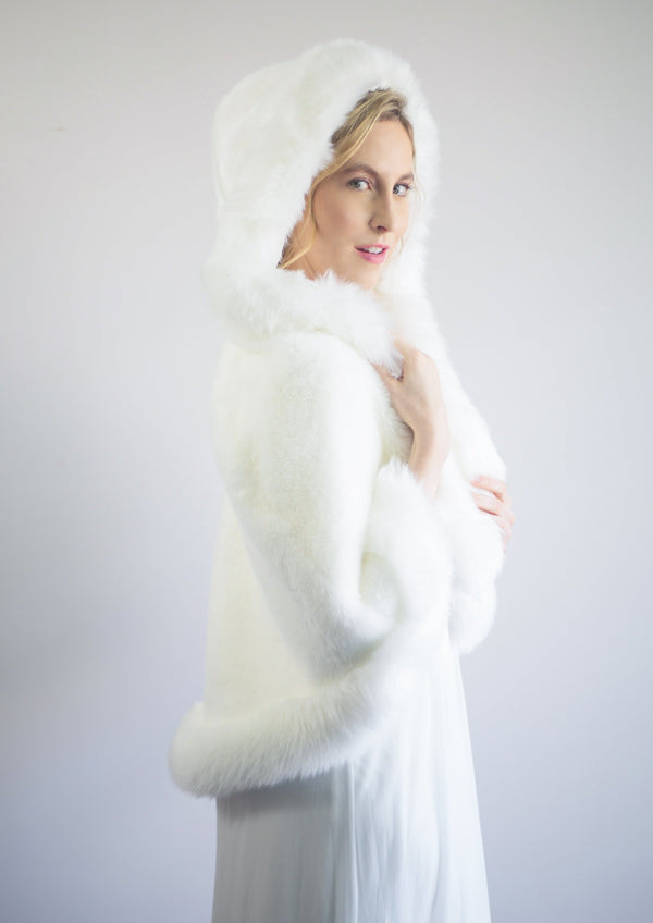 Ivory White Fur Cape (Juliet Wht01)
