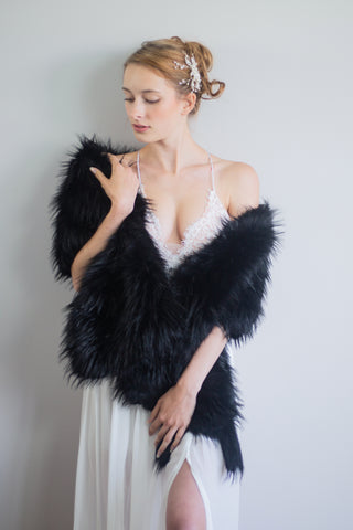 Black Wedding Bridal Fur Stole Wrap Shawl Cape (Lilian Blk02)