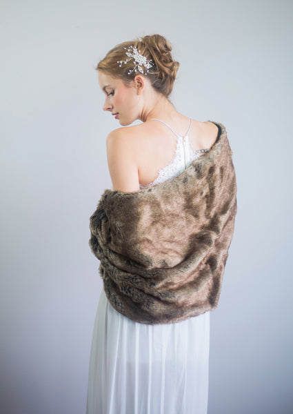 Brown faux fur bridal wrap shrug stole shawl cape (Butterfly Brw04)