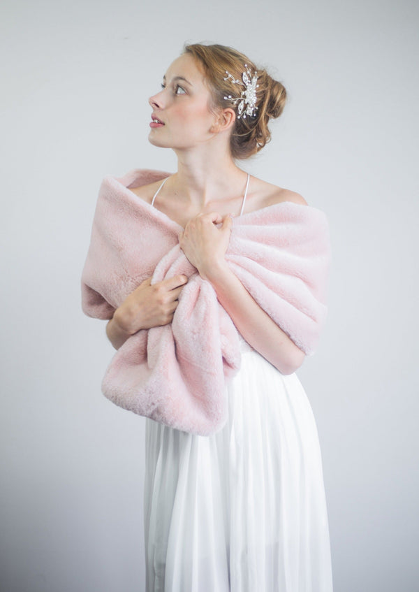 Pink Double Side Fur Shawl (Jenny Pin05)