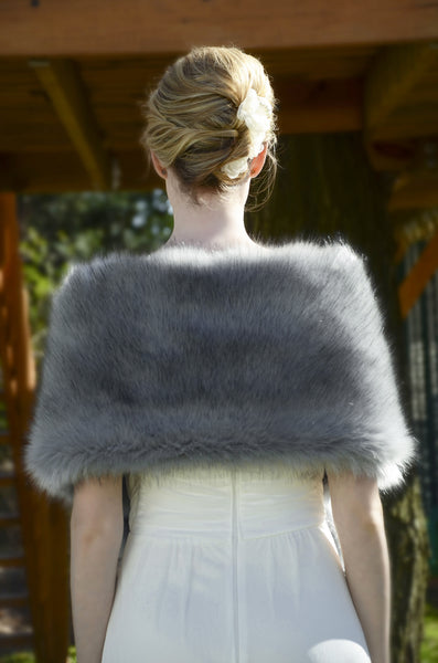 Gray faux fur bridal wrap stole cape (Lilian Gry04)