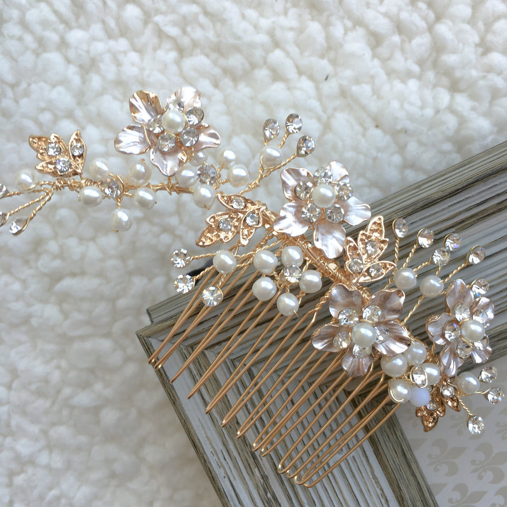 Gold Bridal Hair Comb Comgo01 Sissily Designs