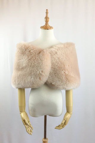 Blush Pink Faux fur bridal wrap shawl stole cape (Serena Blu01)
