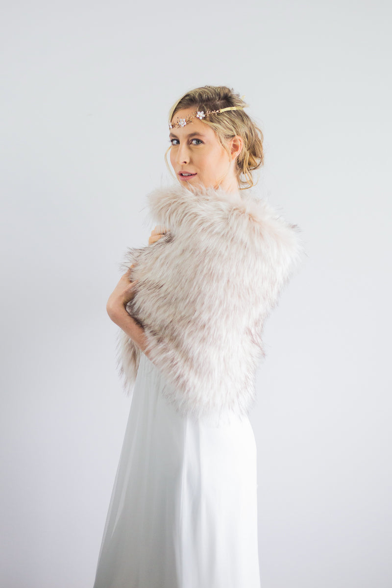 Blush / Beige Fur Shawl (Butterfly Blu02)