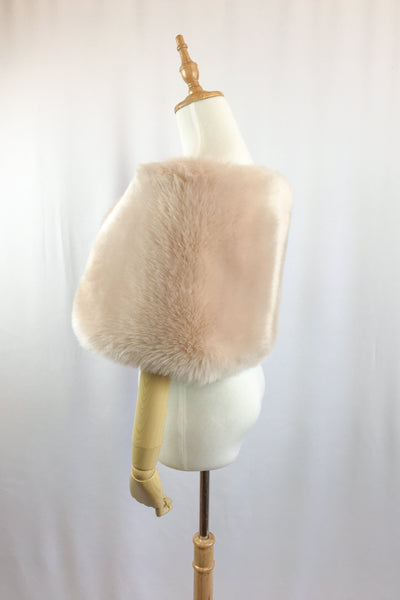Blush / Beige / Nude / Light Brown Faux fur bridal wrap shawl stole cape (Serena Blu01)