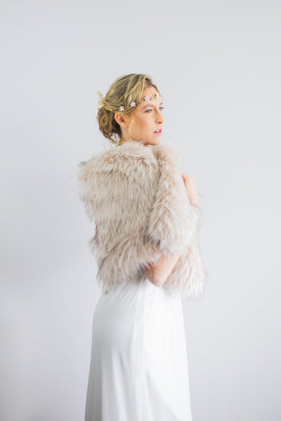Blush / Beige / Nude Wedding Bridal Faux Fur Stole Wrap Shawl Cape (Butterfly Blu02)