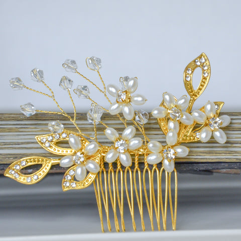 Gold Bridal Flower Hair Comb