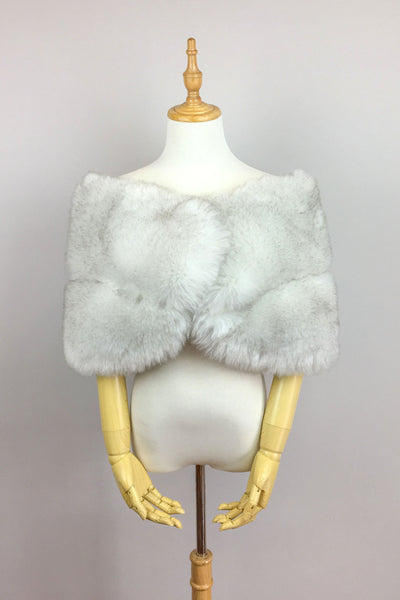 Light Gray Faux fur bridal wrap shawl stole cape (Penelope LGry01)