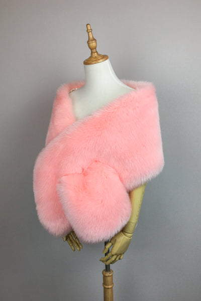 Pink faux fur bridal wrap, Wedding Fur shrug, Fur Wrap (Lilian Pin01)