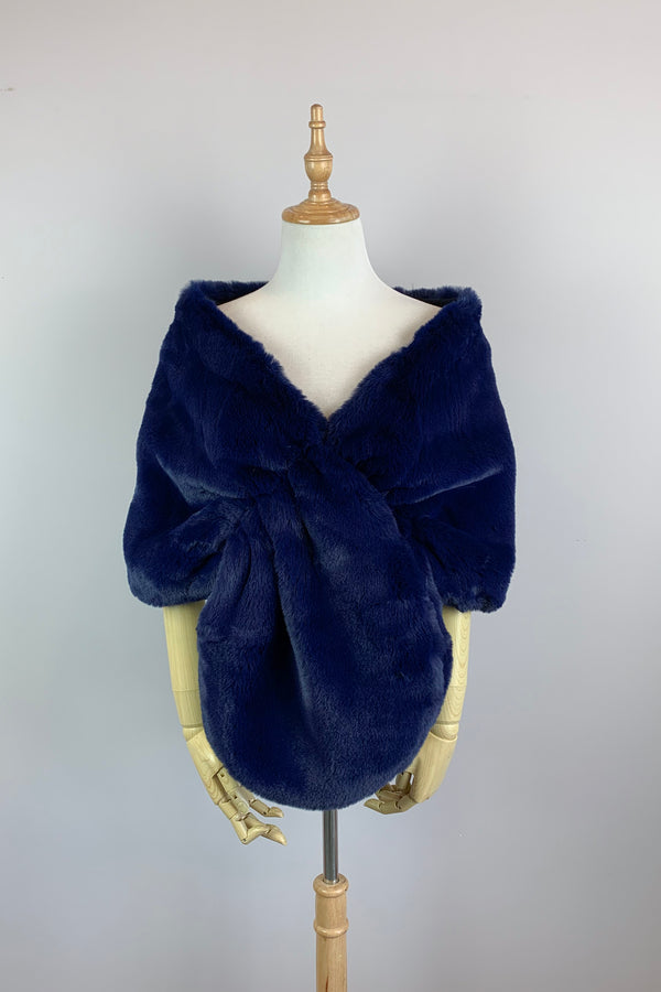 Navy Blue Faux Fur Bridal Cape (Audrey Nay05)