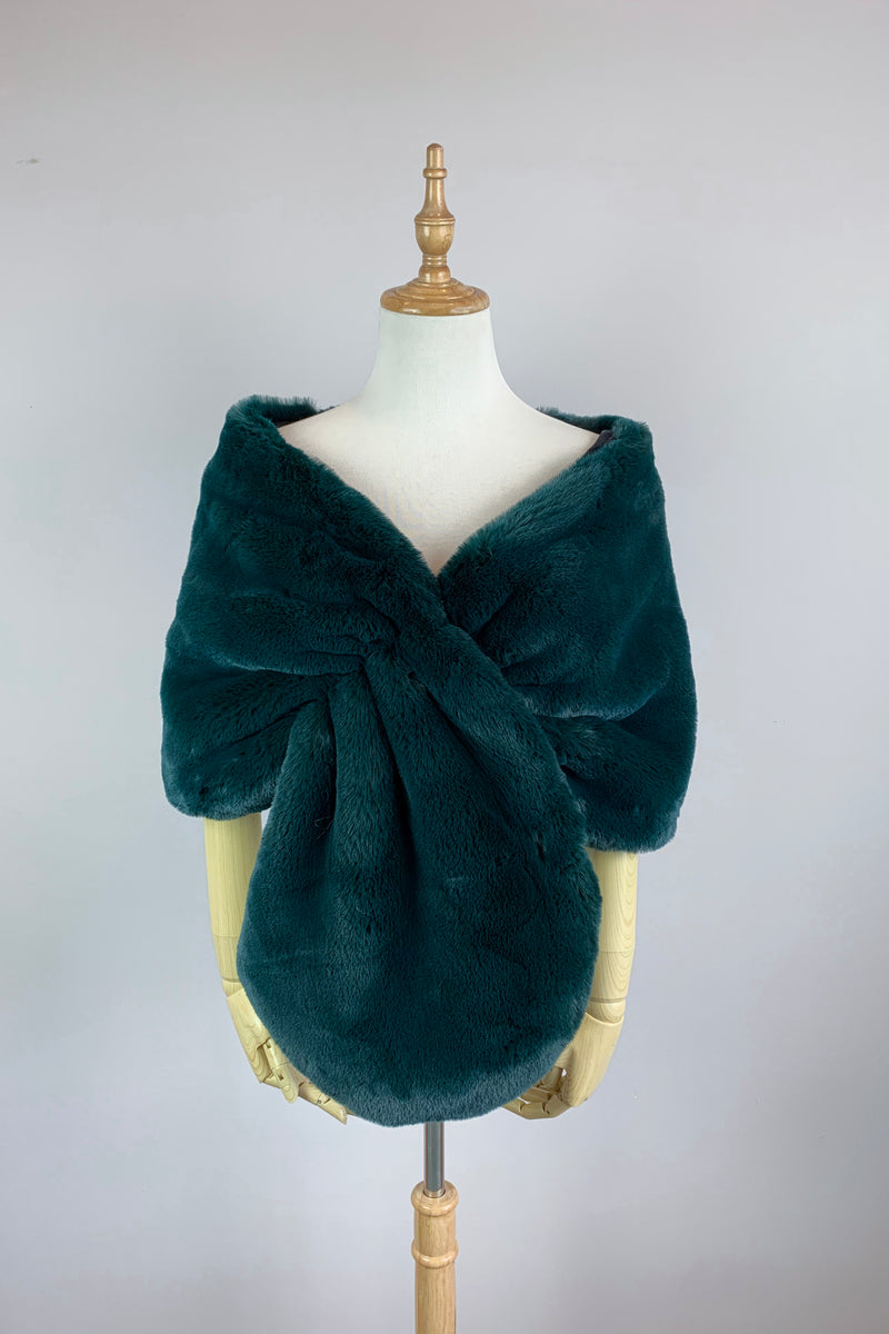 Vintage Green Faux Fur Bridal Cape (Audrey GRN05)