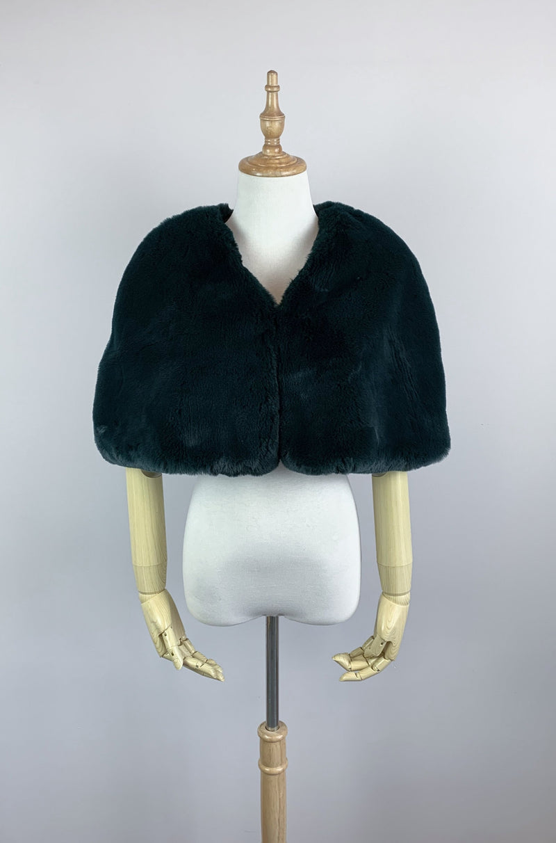 Vintage Green Faux Fur Bridal Cape (Georgina Grn05)