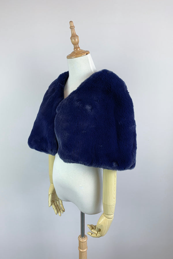 Navy Blu Faux Fur Bridal Cape (Georgina Nay05)