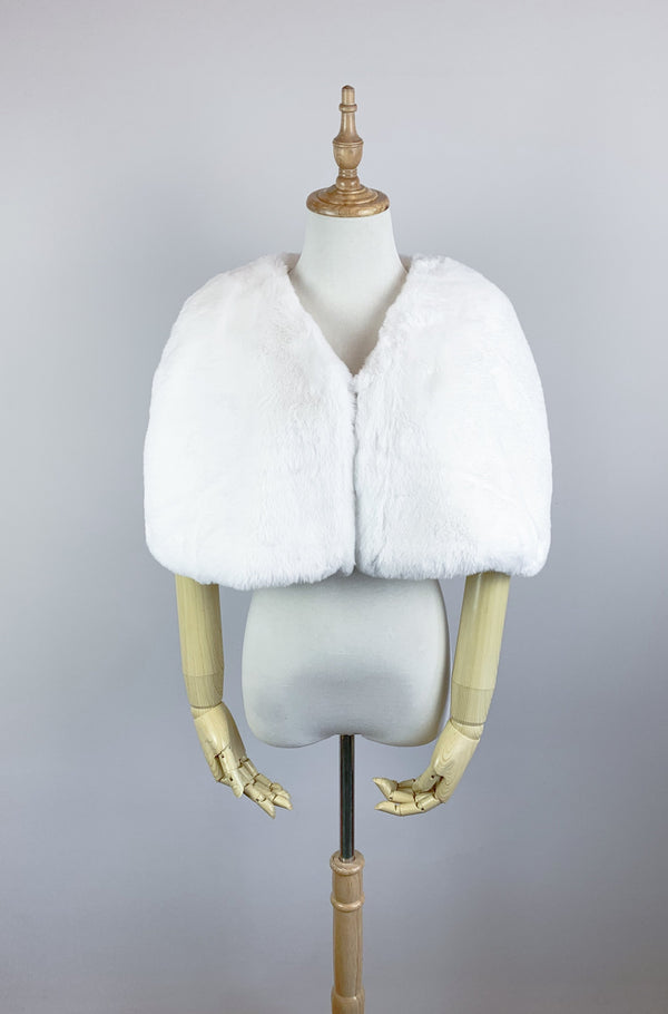 Ivory White Faux Fur Bridal Cape (Georgina Wht05)
