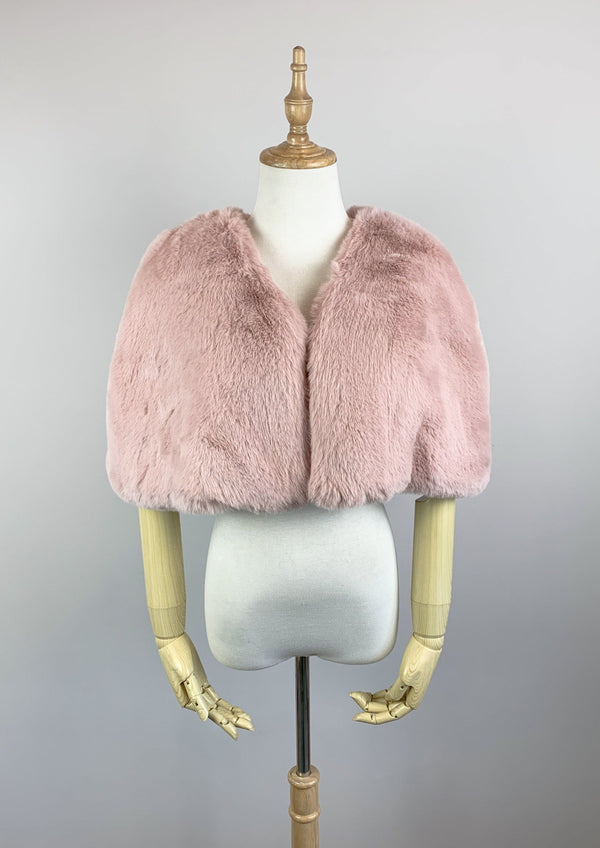 Pink Faux Fur Bridal Cape (Georgina Pin05)