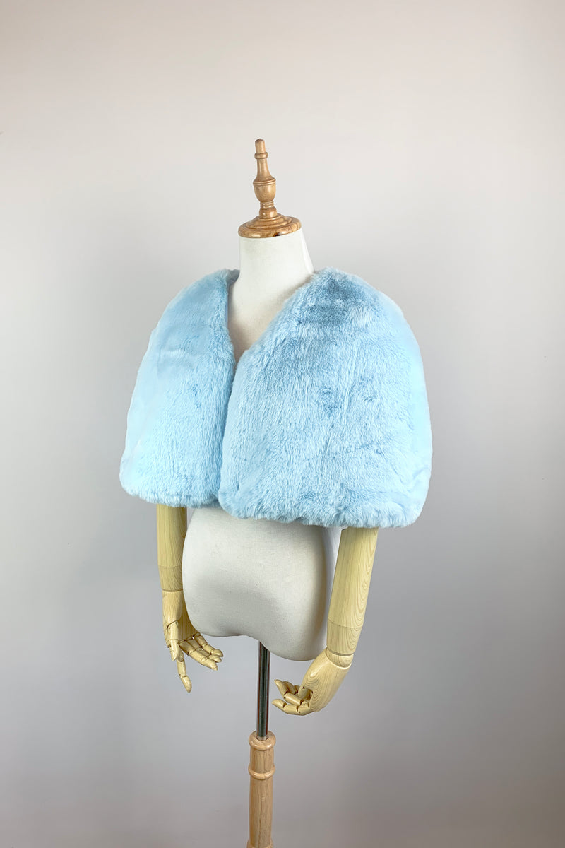 Sky Blue Faux Fur Bridal Cape (Georgina Ble05)