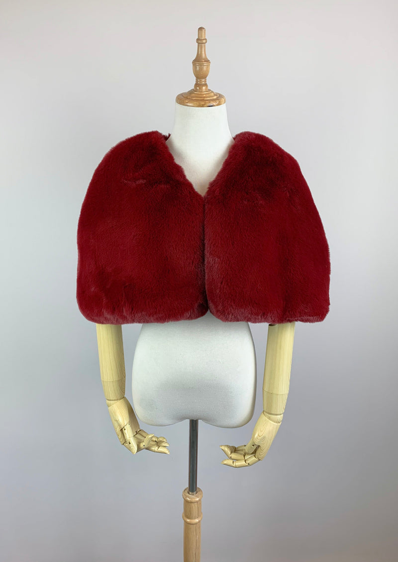 Red Faux Fur Bridal Cape (Georgina Red05)