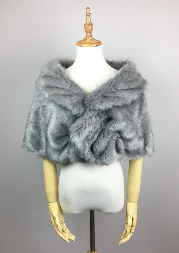 Gray Wedding Bridal Faux Fur Stole Wrap Shawl Cape (Blair Gry05)