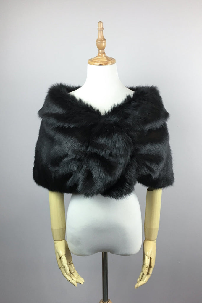 Black Wedding Bridal Faux Fur Stole Wrap Shawl Cape (Blair Blk01)