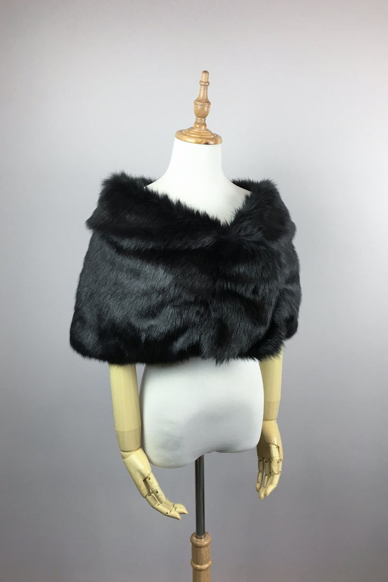 Black Faux Fur Wrap (Blair Blk04)