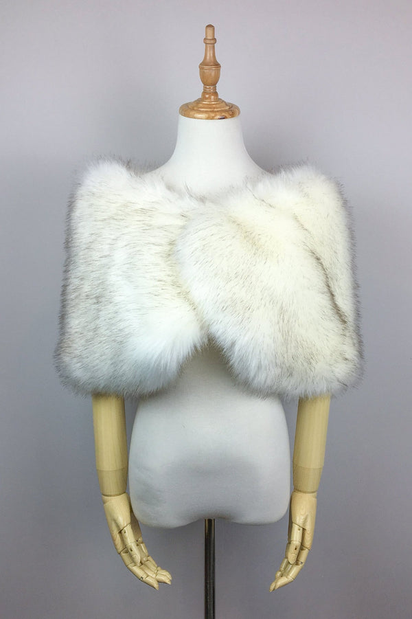 Ivory with Black Fur Wrap (Serena Wht03)