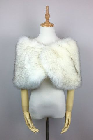Ivory with Black Faux fur bridal wrap shawl stole cape (Serena Wht03)