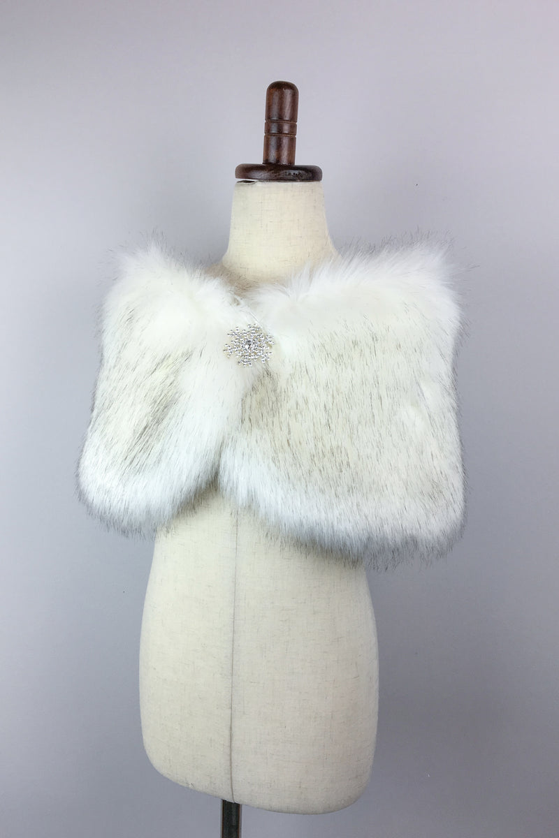 Ivory with Black Flower Girl / Junior Bridesmaid Fur Shawl (Kid Wht03)
