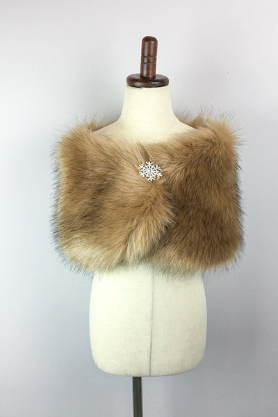 Brown Flower Girl / Junior Bridesmaid Fur Shawl (Kid Brw04)