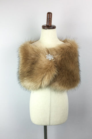 Brown Flower Girl / Junior Bridesmaid Fur Shawl (Kid LBrw03)