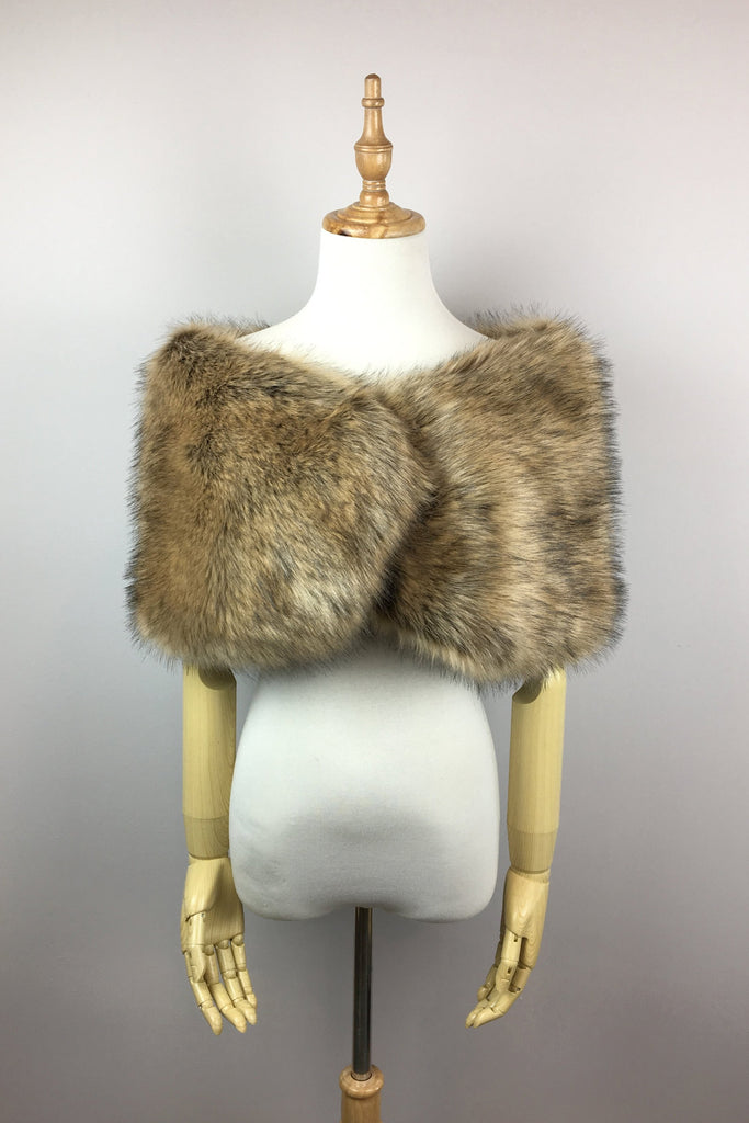 Brown Faux fur bridal wrap shawl stole cape (Serena Brw03)