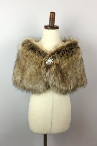 Brown Flower Girl / Junior Bridesmaid Fur Shawl  (Kid Brw01)