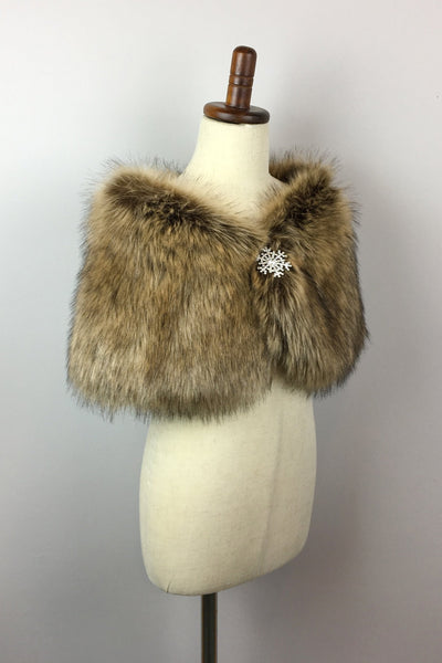 Brown Flower Girl / Junior Bridesmaid Fur Shawl  (Kid Brw03)