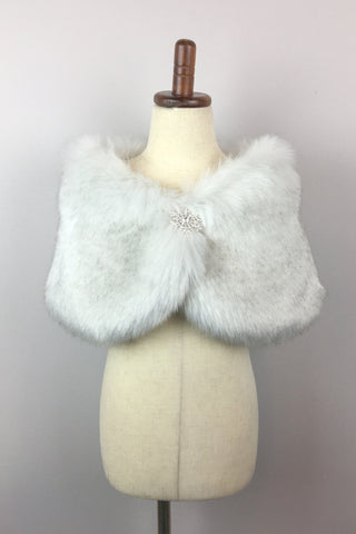 Light Gray Flower Girl / Junior Bridesmaid Fur Shawl / Wrap (Kid Gry03)