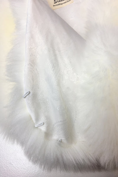 Ivory / White Faux fur bridal wrap shawl stole cape (Serena Wht01)