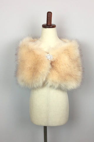 Champagne Flower Girl / Junior Bridesmaid Fur Shawl  (Kid Cha01)