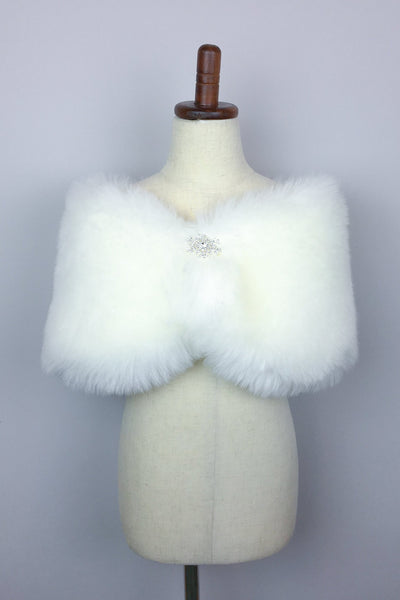 Snow White Flower Girl / Junior Bridesmaid Fur Shawl (Kid Wht01)