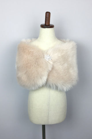 Blush Pink Flower Girl / Junior Bridesmaids Fur Shawl / Wrap (Kid Blu01)