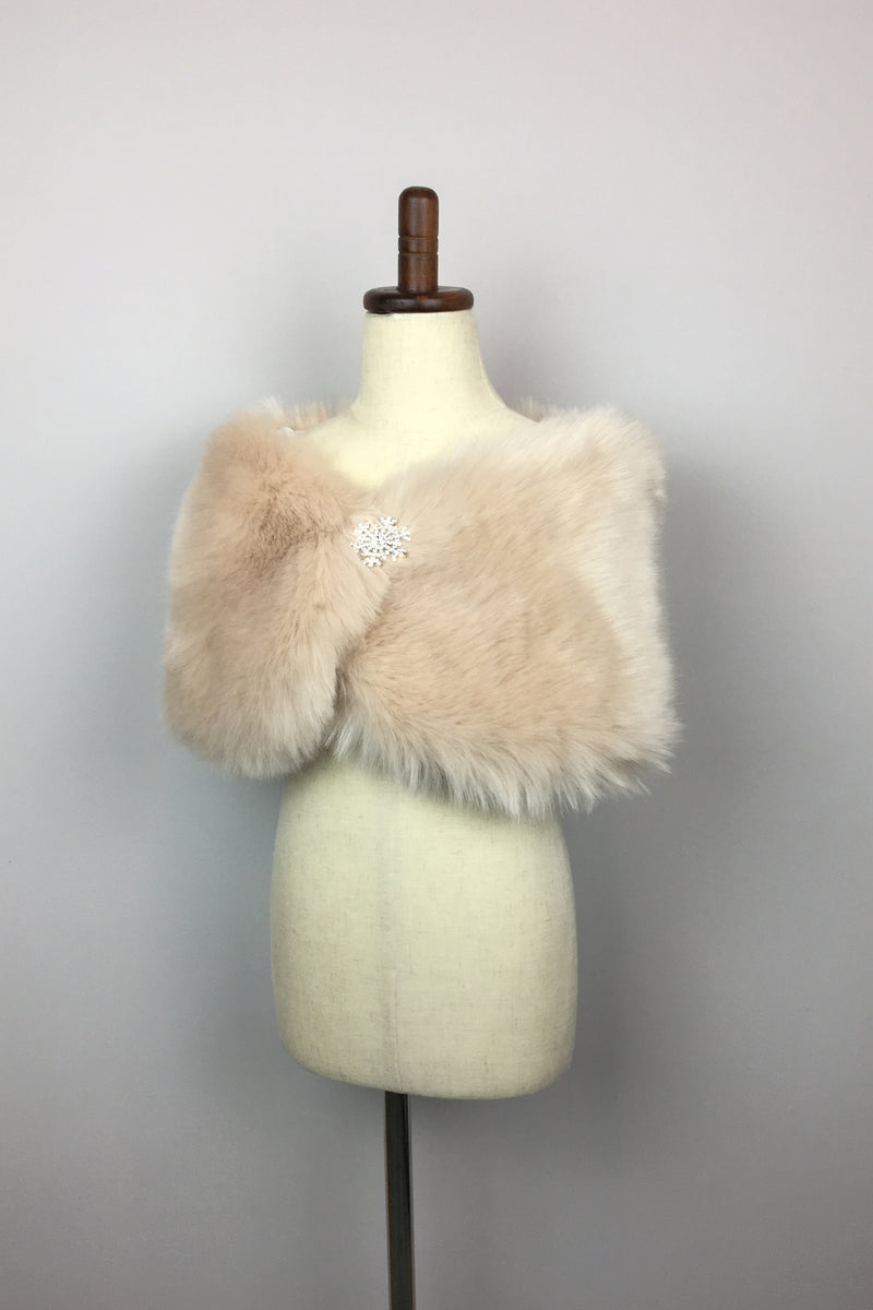 Beige Flower Girl Fur Wrap (Kid Blu01)