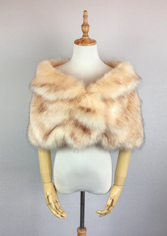 Champagne Brown Wedding Bridal Faux Fur Stole Wrap Shawl Cape (Blair Cha01)