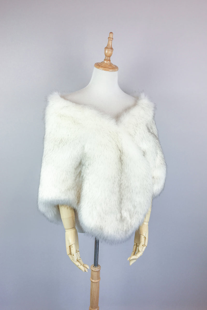 Ivory with Black Fur Shawl (Butterfly Wht03)