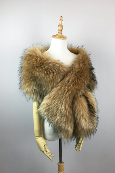 Brown Wedding Bridal Fur Stole Wrap Shawl Cape (Lilian Brw06)