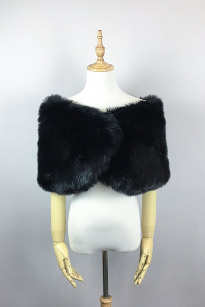Black Wedding Bridal Faux Fur Stole Wrap Shawl Cape (Serena Blk01)