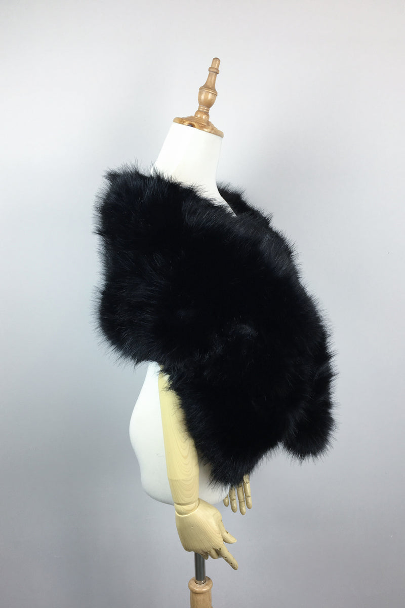 Black Faux Fur Shawl (Lilian Blk03)