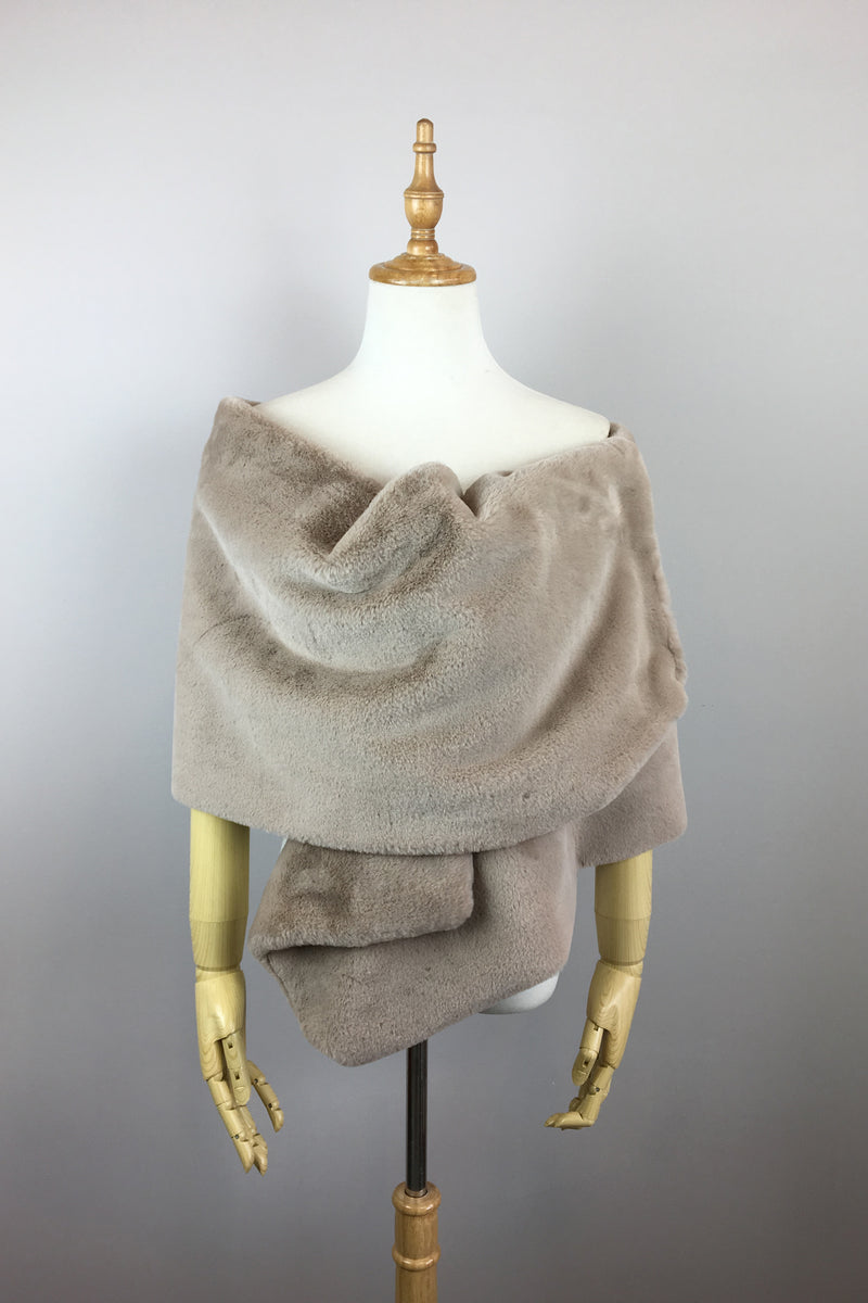 Light Brown Double Side Fur Shawl (Jenny Brw05)