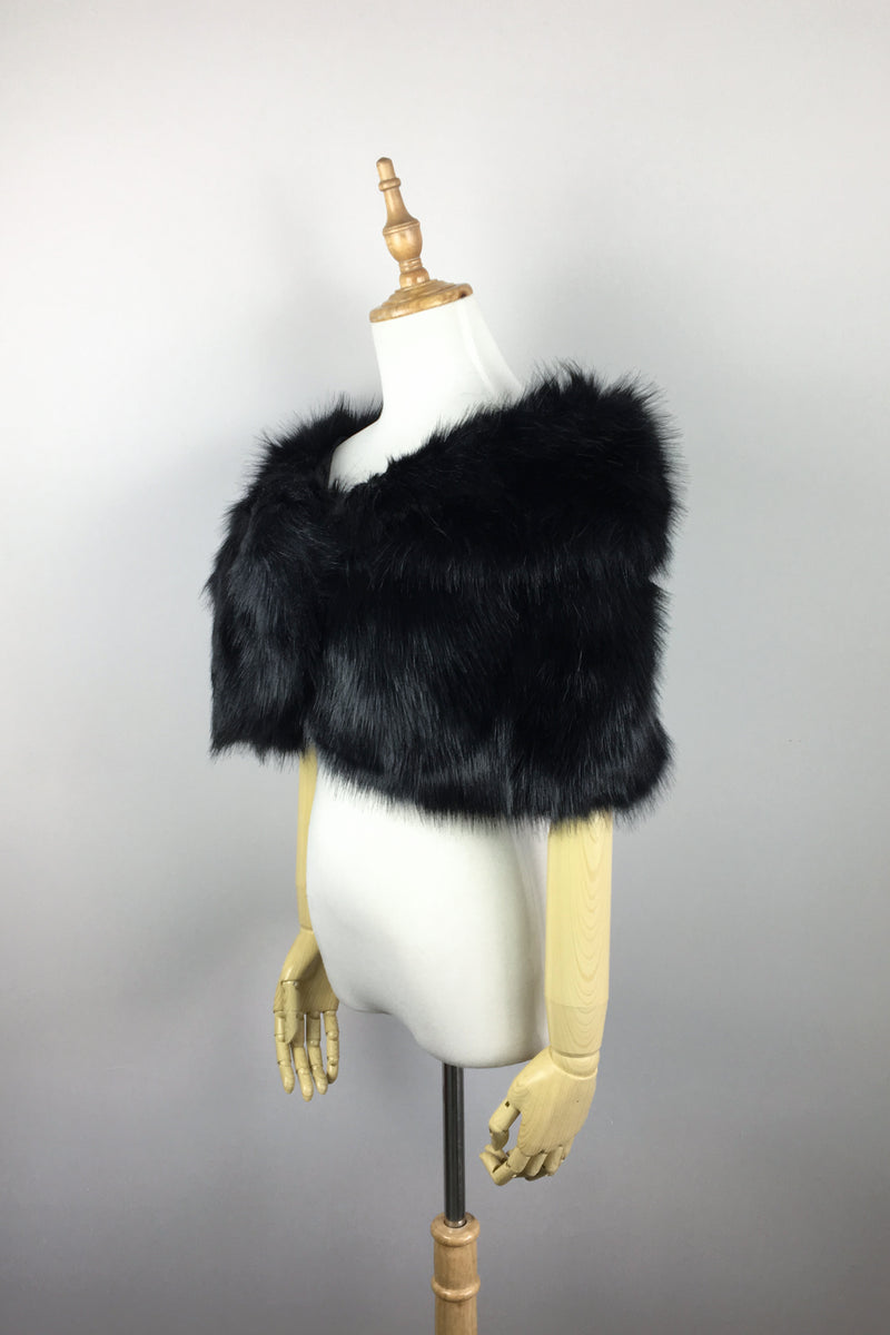 Black Faux Fur Wrap (Blair Blk03)