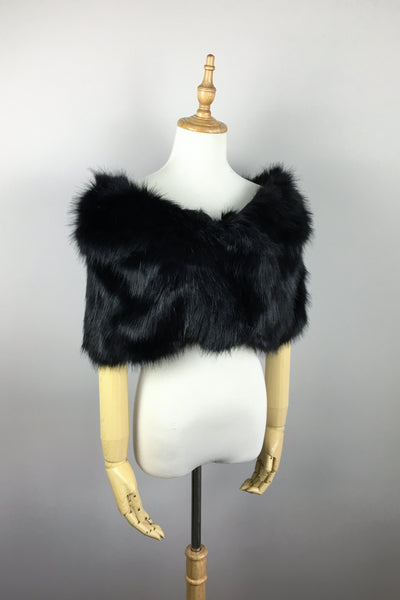 Black Wedding Bridal Faux Fur Stole Wrap Shawl Cape (Blair Blk02)