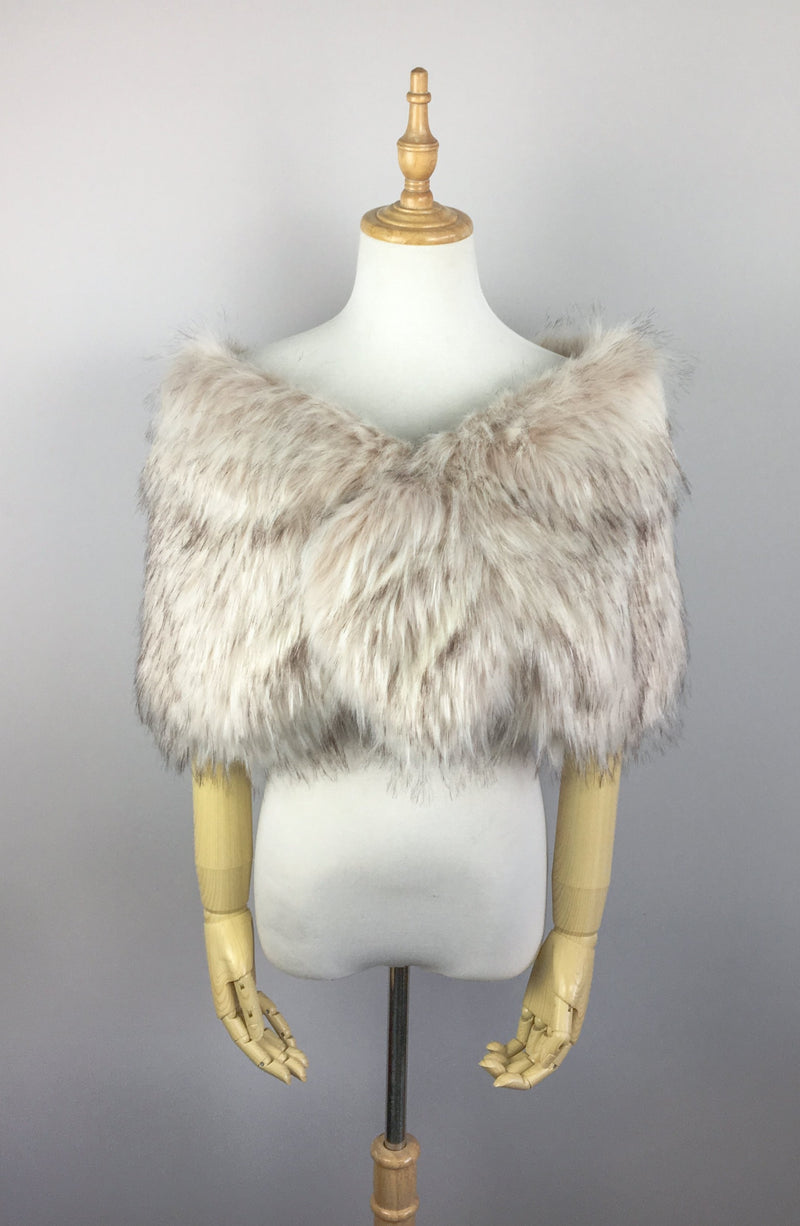 Blush / Beige Fur Shawl (Blair Blu02)