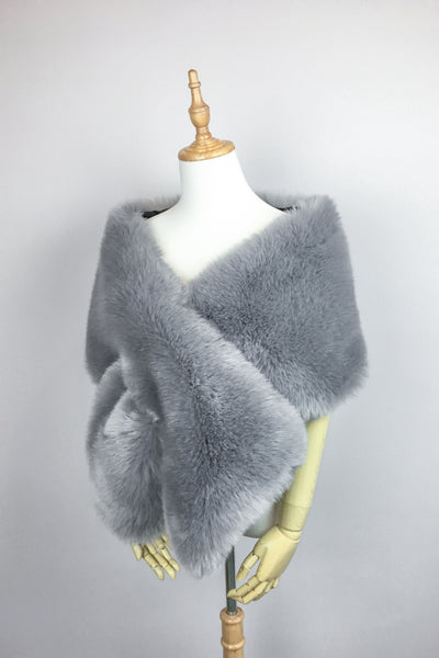 Grey Wedding Bridal Faux Fur Stole Wrap Shawl Cape