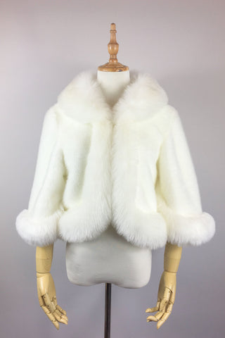 Ivory white faux fur bridal coat, jacket (CholeWht01)